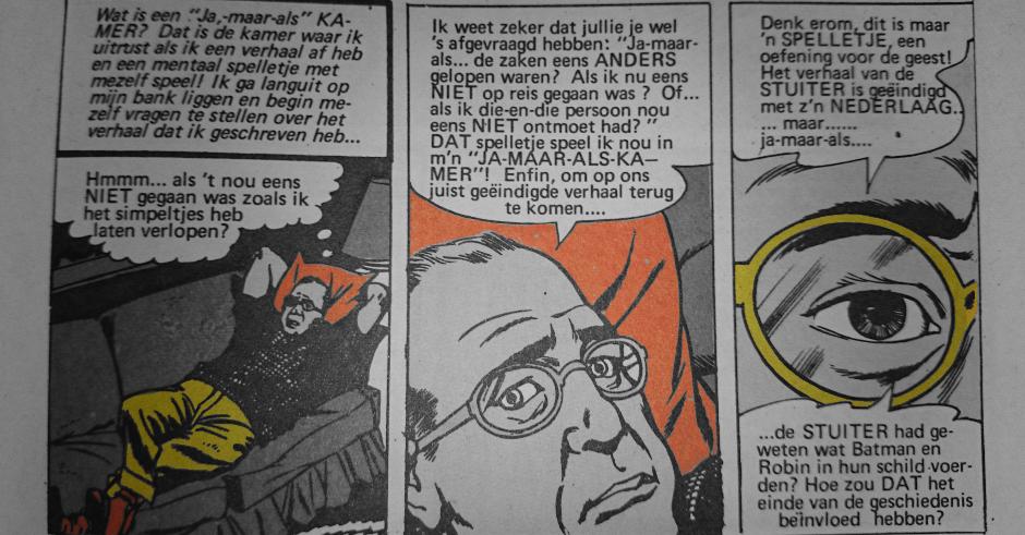 """De schrijver van Batman in zijn 'ja-maar-als-kamer'. fragment uit: """"De vreemde dood van Batman"""", Batman Album, 1970."""