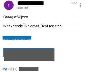 screenshot van de mail met daarin de afwijzing op mijn sollicitatie.